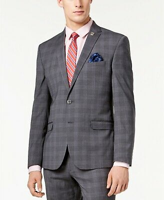 $295 Nick Graham Men's Slim-Fit Stretch Medium Gray Plaid Suit Jacket 46R