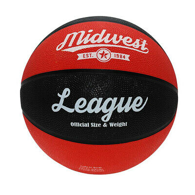 Midwest League Outdoor Recreational Rubber Basketball Ball Black/Red