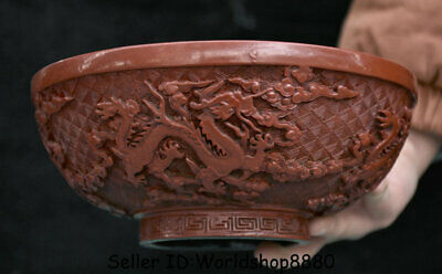"7.8"" Qianlong Marked Old China Red Lacquerware Dynasty Palace Dragon Bowl Bowls"