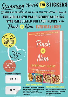 💕Slimming World Friendly Syn Stickers PINCH of NOM EVERYDAY LIGHT book* NOT INC