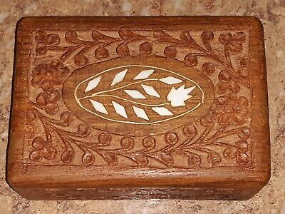 Vintage Hand Carved Wooden Trinket Jewelry Box Floral Inlay made in India