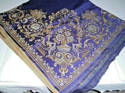 Antique Vintage Woven Tapestry URNS Cobalt Blue Gold Ecru Cotton Velvet 55 x 60
