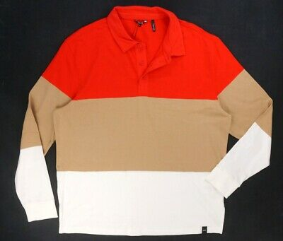 DKNY Fiery Beige Mens Colorblocked Stripe Rugby Shirt Red XL