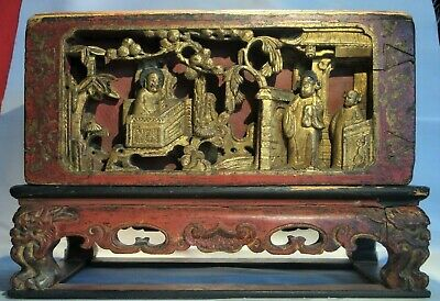 Antique Chinese Carved Court Scene Wood Alter Box with Stand  Signed