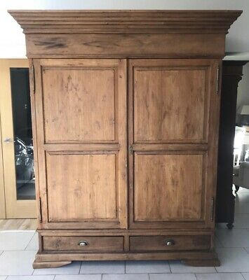 Lovely Large Antique English Country Pine Double Wardrobe / Linen Cupboard C1900