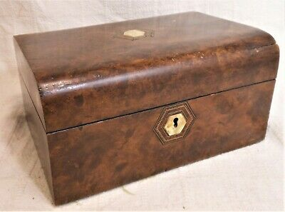 Very Good Antique Burlwood Jewelry Box With Inlaid Fitted Interior.
