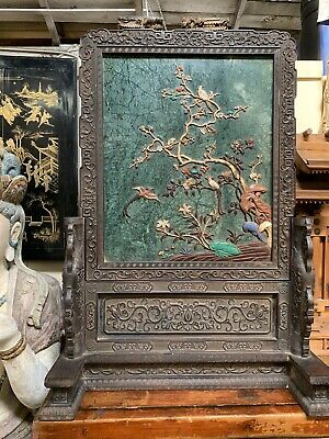 Stunning Antique Qing Dynasty Chinese  Hard Wood And Stones Table Screen