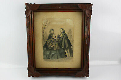 Antique Carved Walnut Wood Frame with leaf corners - Victorian period