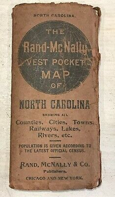Antique 1906 Rand-McNally Vest Pocket Map North Carolina Railroads Towns Cities