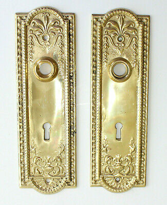 Pair Vintage Reproduction Victorian Brass Finger Plate Covers Door Escutcheon
