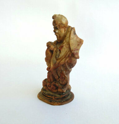 Vintage Soapstone Figurine Hand Carved Chinese Man on Water with Fish