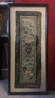 Chinese Antique Qing Dynasty Framed Silk Embroidery With Flowers