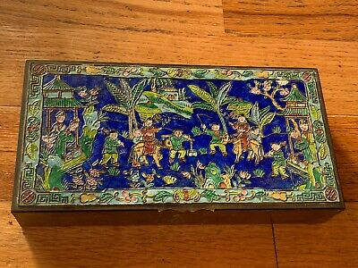 RARE Antique 19th C. CHINESE CLOISONNE ENAMEL HUMIDOR Tobacco Smoking BOX Qing