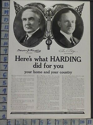 1920 Political Harding Coolidge Republican President Historic Vintage Addb34