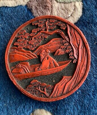 Antique Chinese Carved Red Cinnabar Lacquer Pendant Medallion Scholar Landscape
