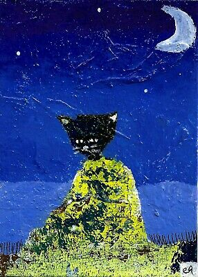 meditations with a kitty called moon e9Art ACEO Cat Abstract Outsider Art Paint