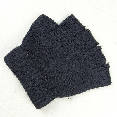 Boys Girls Kids Plain Black Fingerless Gloves Knitted Winter Gloves Cosy Warm