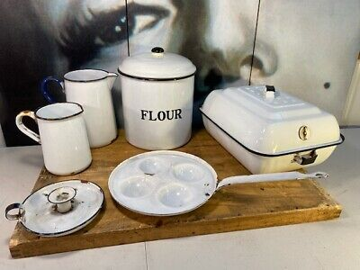 Collection of Vintage Australian Kitchen White Enamel Cookware Canister Jugs