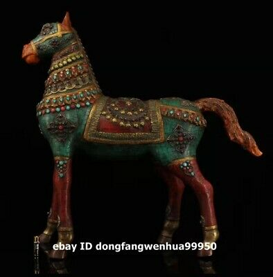 Tibet buddhism pure bronze inlay red Coral turquoise gemstone Animal Horse Steed