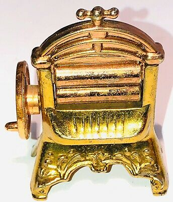 Dollhouse Miniature Antique Wringer Washer Gold & Copper Metal Laundry Furniture