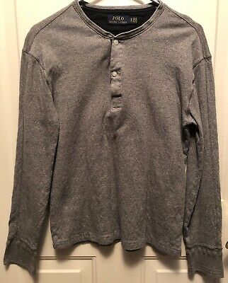 Polo Ralph Lauren Mens Size Small Long Sleeve Gray Pullover Henley Shirt EUC