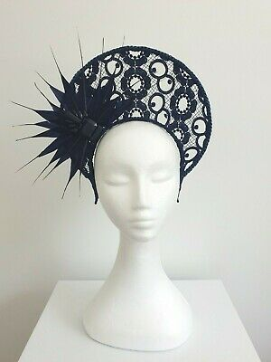 Miss Halo womens Navy Blue lace halo headband fascinator with feathers