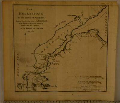 Antique Map of The Hellespont Ancient Greece 1795 Copper Plate 11x7 Inches