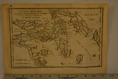 Antique Map of The Attica Ancient Greece 1795 Copper Plate 11x7 Inches