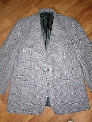 Brooks Brothers Mens Camel Hair Black Gray Glen Plaid Blazer 44R