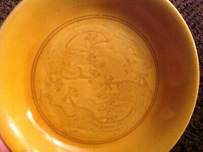 Antique Chinese Late 19th Century Yellow Glaze Porcelain Dish - Dragons 4 Inches