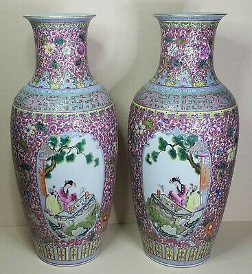 Antique A pair of Chinese porcelain large vases, 19th-20th century.
