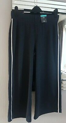 M&S COLLECTION Navy blue Wide Cropped Trousers Joggers 14 Short  NEW WITH TAGS