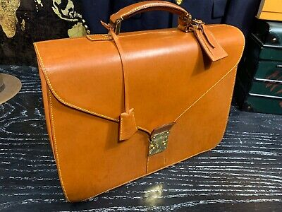 LOUIS VUITTON Nomade Tan Brown All Natural Leather Briefcase Attache Bag