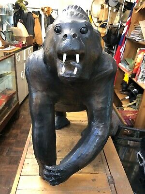 Large Vintage Leather Gorilla Sculpture, 1 1/2 Feet Tall Model, Mid 20th Century