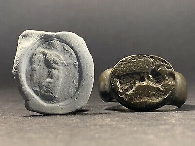 Scarce Ancient Roman Bronze Senatorial Seal Ring - Circa 50Bc-100Ad