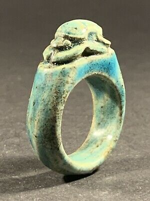 Very Rare - Intact - Ancient Egyptian Faience Scarab Ring - Circa. 900-400Bce