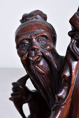 "31cm(12.2"") Japanese Old Wood Carving Doll : Old man, Crane and Gourd"