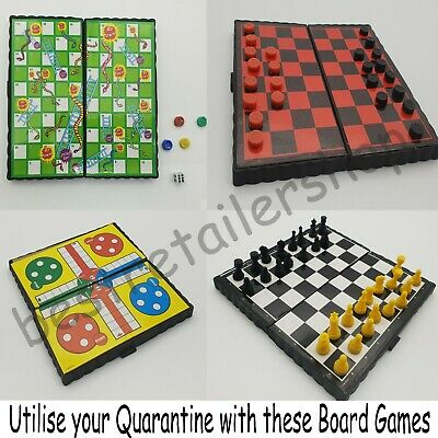 QUARANTINE Magnetic Board Games Set of 4 Chess Ludo Snakes and Ladders Draughts