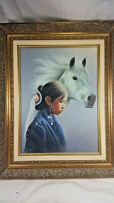 Wonderful Oil Painting Young Girl and White Horse signed Kim