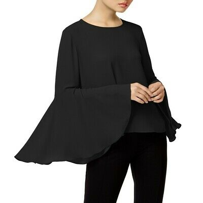 VINCE CAMUTO NEW Women's Solid Black Bell Sleeve Blouse Shirt Top S TEDO