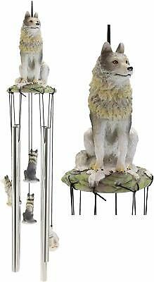 Gray Wolf Sculptural Wind Chime Resonant Relaxing Patio and Garden Chimes