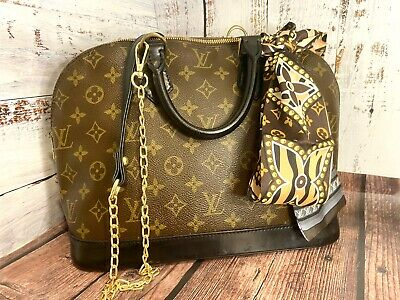 Louis Vuitton Alma Monogram With Custom Dyed Black Leather Authentic