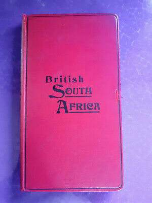 Rare antique 1895 Philips British South Africa map cloth in card folder Rhodesia