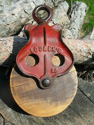 Antique  LOUDEN VINTAGE CAST Iron/ WOOD PULLEY PRIMITIVE ORNATE RUSTIC DECOR
