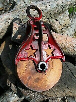Antique STARLINE VINTAGE CAST Iron/ WOOD PULLEY PRIMITIVE ORNATE RUSTIC DECOR