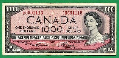 1954 Bank of Canada 1000 dollar  One Thousand dollars Canadian