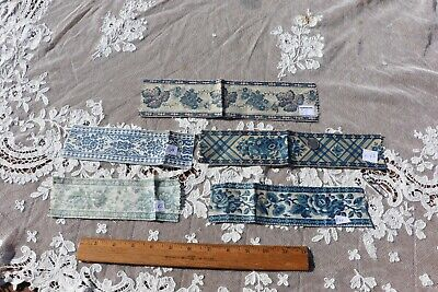 Lot Of 5 French Printed Indigo & Blue Antique Cotton Trims