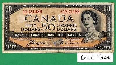DEVIL FACE 1954 Bank of Canada 50 dollar  Fifty dollars Canadian