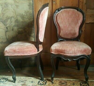 Pair Antique FRENCH LOUIS Mahogany Carved Back Ornate SALON Hall Side 2 x Chair