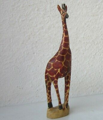 """8""""  Hand Carved Wooden Giraffe Figurine Statue African Home Decor,  art carving"""